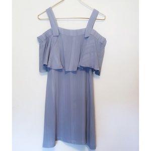 Lush Ruffle Top Dress Small Pale Blue